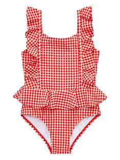 Mini V by Very Girls Gingham Frill Swimming Costume - Red 5827a6385