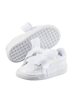 afd2d0746dd Puma Basket Heart Patent Childrens Trainers - White
