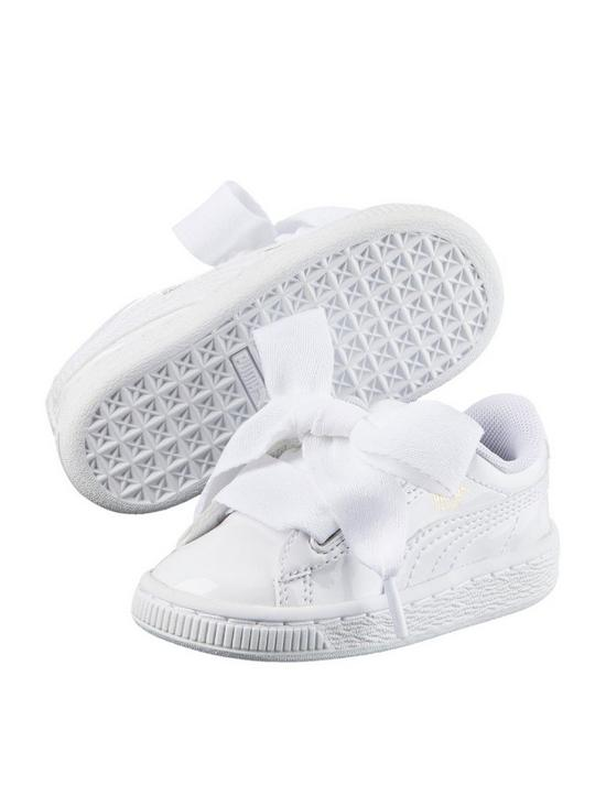 reputable site a9ef4 75ced Puma Basket Heart Patent Childrens Trainers - White