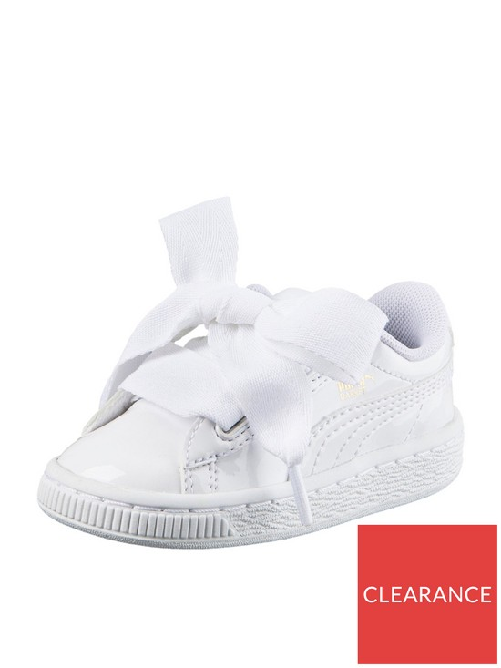 cea317d9 Basket Heart Patent Childrens Trainers - White