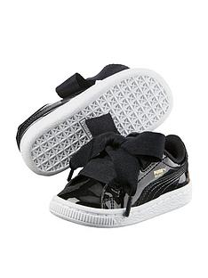 05e2e36b83b50a Puma Basket Heart Patent Infant Trainers - Black White