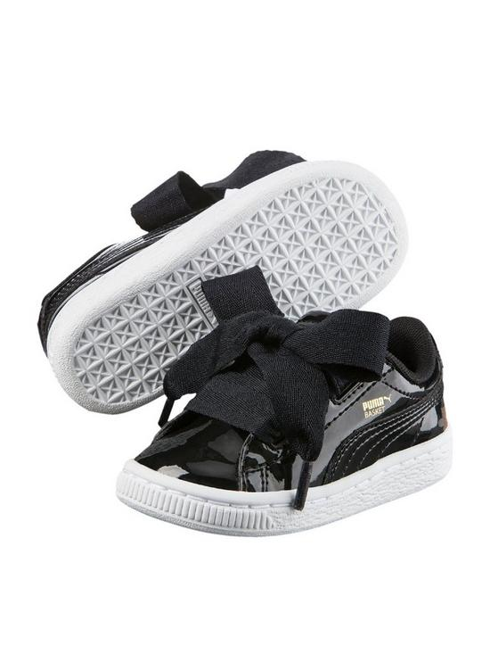 f5d8343e1210 Puma Basket Heart Patent Infant Trainers - Black White