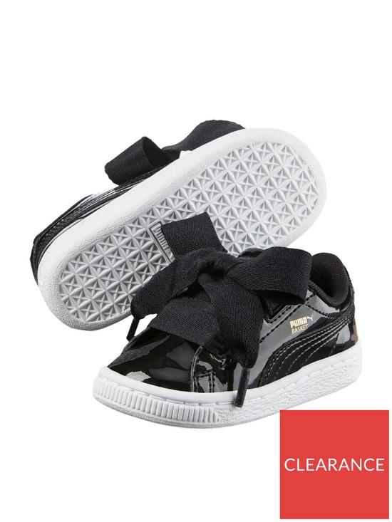 competitive price 1de41 a4fc9 Basket Heart Patent Infant Trainers - Black/White