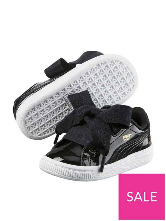 d46b96bab6 Puma Basket Heart Patent Infant Trainers - Black/White | very.co.uk