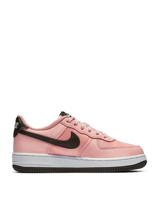 brand new d2687 f3175 Nike Air Force 1 18 Valentines Day Childrens Trainers - Pink Black
