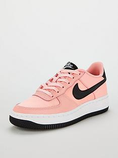 e568d00121122c Nike Air Force 1 Valentines Day Junior Trainers - Pink Black