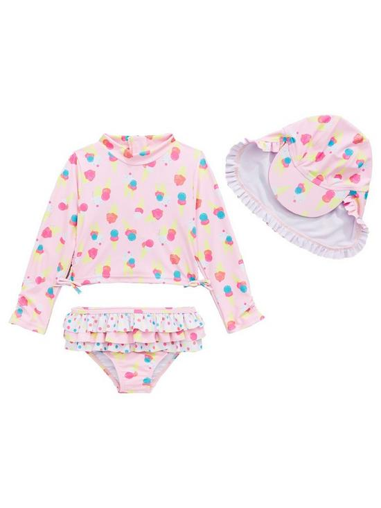 4e464a5f7066b Mini V by Very Girls Ice Cream 3 Piece Sunsafe Swimwear Set - Multi ...