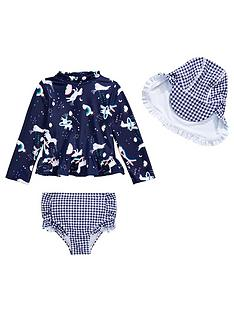 4ac29100e75bc Mini V by Very Girls Unicorn and Gingham 3 Piece Swim Set - Navy