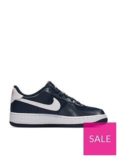 4934f03b4d Nike Air Force 1 Valentines Day Junior Trainers - Navy/Pink