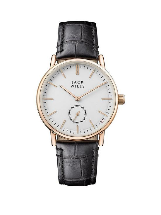 548768e49008 Jack Wills Jack Wills White and Gold Detail Multi Dial Black Leather Strap  Ladies Watch