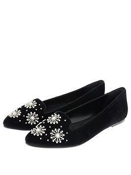 Accessorize Pearl Slipper Shoe - Black