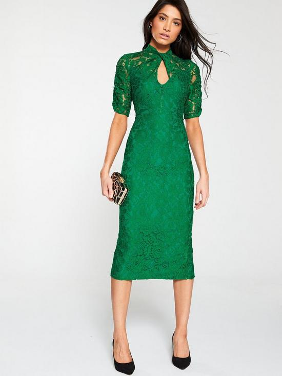 6d45680188ad V by Very Ruched Lace Pencil Dress - Green   very.co.uk