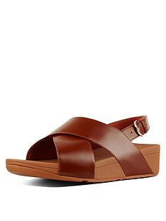 582317f69be8fb FitFlop Lulu Cross Back Leather Wedge Sandal Shoes - Caramel