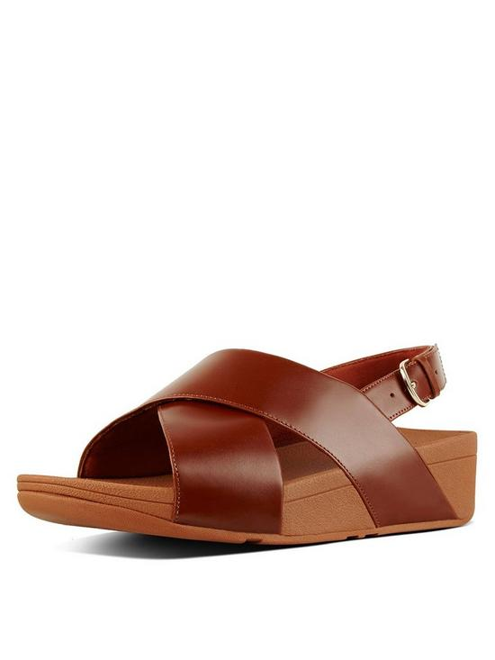 94bab52ed5172 FitFlop Lulu Cross Back Leather Wedge Sandal Shoes - Caramel