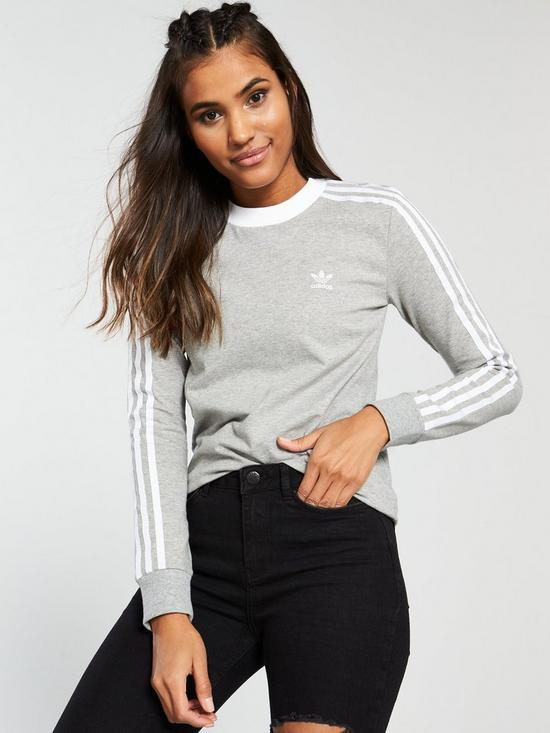 cea0bb9adc adidas Originals 3 Stripe Long Sleeve Tee - Light Grey Heather ...