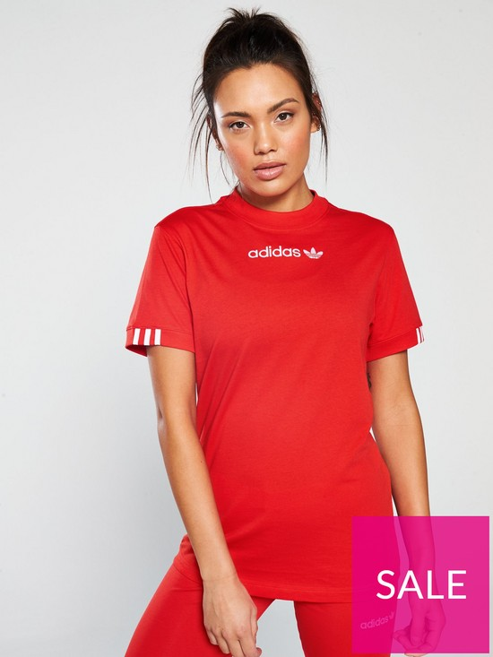 00a28ba6df9 adidas Originals Coeeze T-Shirt - Red | very.co.uk