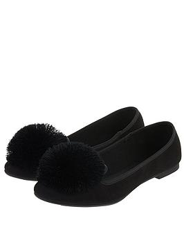Accessorize Pom Pom Slipper Shoe - Black