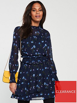v-by-very-shirred-waist-tea-dress-navy-floral