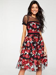 v-by-very-dobbynbspspot-yoke-3d-lace-prom-dress-multi
