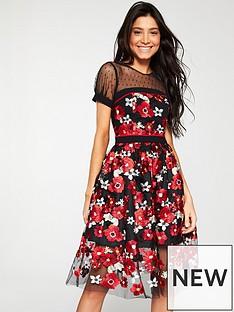 6e5ff0b102cb V by Very Dobby Spot Yoke 3D Lace Prom Dress - Multi