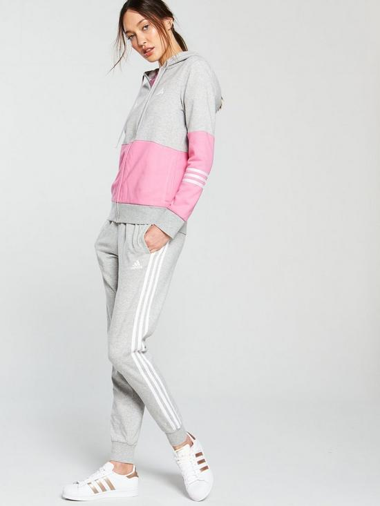 377c86e10c7 adidas Cotton Energize Tracksuit - Grey/Pink | very.co.uk