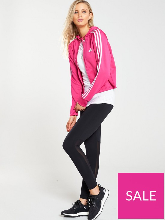 83b14d897c2 adidas Hoodie & Tight Tracksuit - Black/Pink | very.co.uk