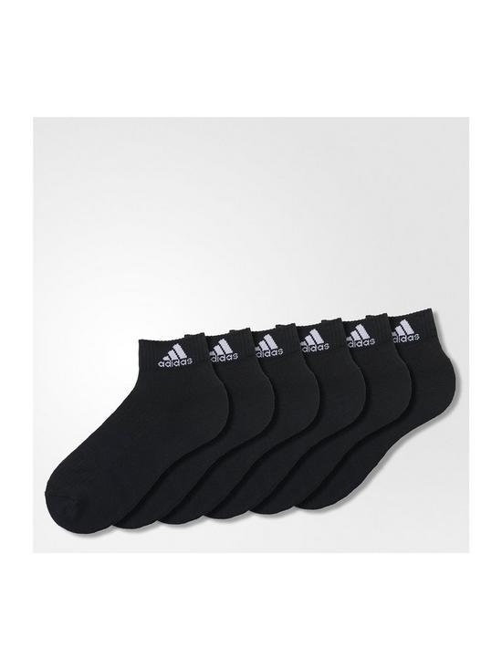 3 Stripe Performance Ankle Sock 6pk - Black