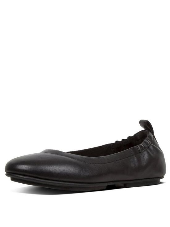 549d8a96985dc FitFlop Allegro Leather Flat Ballerina Pump Shoes - Black | very.co.uk