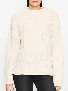 gestuz-amaryl-oversized-cable-knit-jumper-cream