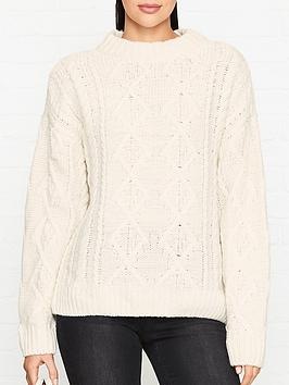 gestuz-amaryl-oversized-cable-knit-jumper-cream