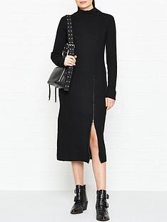 gestuz-rama-rib-zip-detail-dress-black