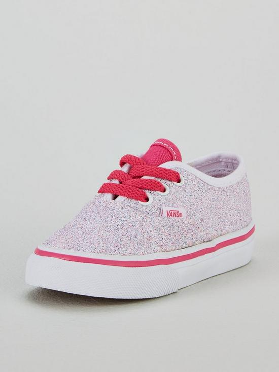 707adc82e89c56 Vans Glitter Authentic Infant Trainer - White Pink