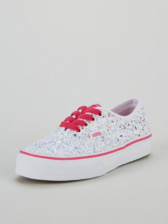Vans Glitter Authentic Junior Trainers - White Pink  8b615800a