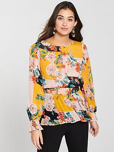 river-island-river-island-print-waisted-blouse-orange