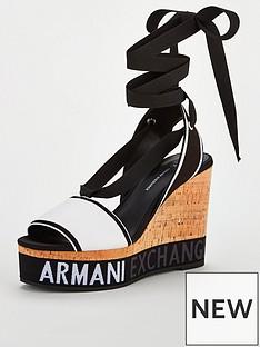 armani-exchange-wedge-sandals-blackwhite