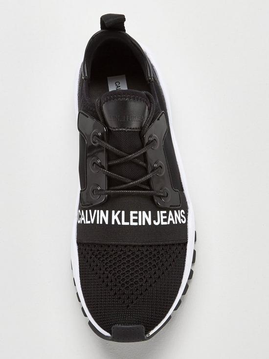 2dd859a93894 Calvin Klein Jeans Talula Lace Up Panel Mesh Trainers - Black White ...