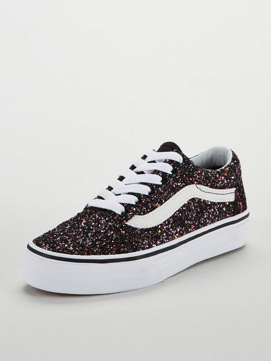 bc7e6868f596 Vans Glitter Old Skool Junior Trainers - Black/White | very.co.uk