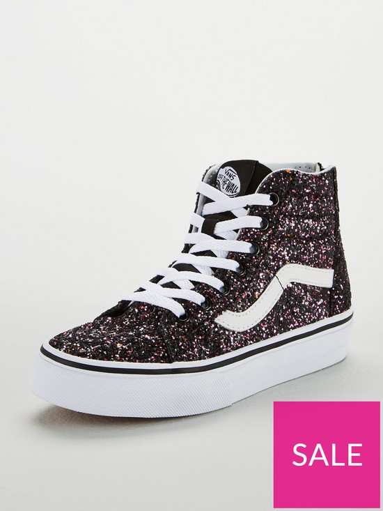 72f1dba04 Vans Glitter Sk8-Hi Zip Junior Trainers - Black/White | very.co.uk