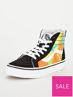vans-colour-pop-camo-sk8-hi-zip-junior-trainers-yellowblack