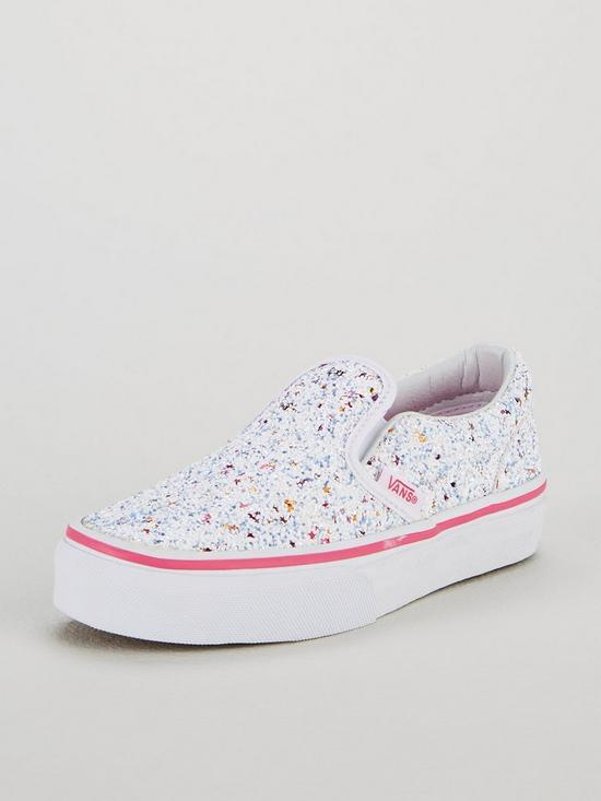 af0b273740 Vans Glitter Classic Slip-On Junior Trainers - White Pink