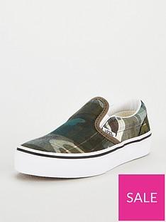 vans-classic-camo-slip-on-junior-trainers-greenwhite