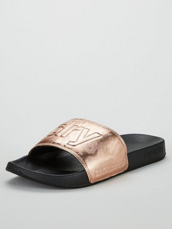 d061f9de6602ab Superdry Metallic Moulded Pool Slide Slider Shoes - Black Rose Gold ...
