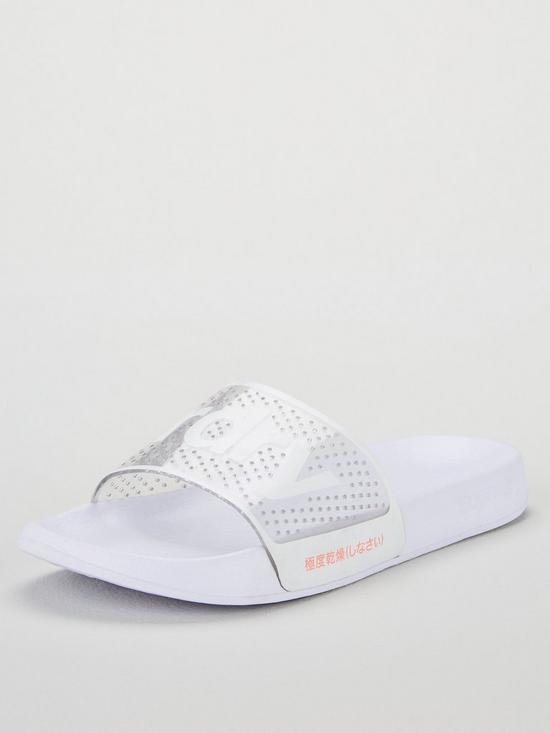 b6388b84a1412 Superdry Superdry Perforated Jelly Pool Slider Shoes - White