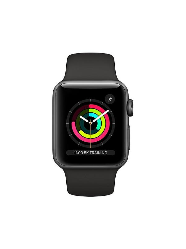 b4c974ae688 Apple Watch Series 3 (2018 GPS), 38mm Space Grey Aluminium Case with Black  Sport Band | very.co.uk