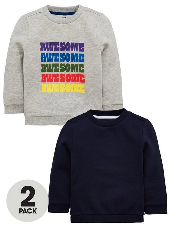 44d36ada6 Mini V by Very 2 Pack Awesome Sweatshirts - Grey/Navy | very.co.uk