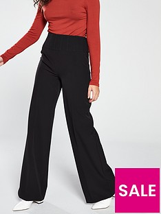 101fbd9beb6 V by Very High Waisted Wide Leg Trouser - Black