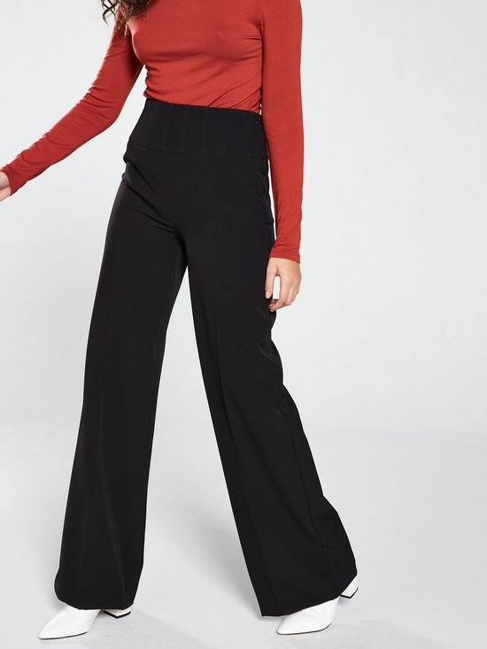 52eb138dc302 V by Very High Waisted Wide Leg Trouser - Black