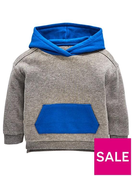 de8e3f03078c Mini V by Very Boys Awesome Contrast Hood Overhead Hoodie - Grey ...