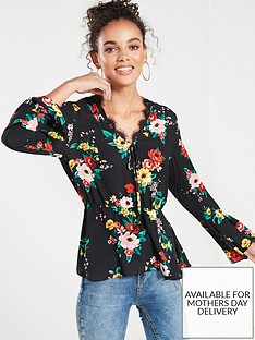 v-by-very-lace-detail-peplum-top-print