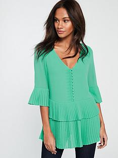 v-by-very-pleated-button-detail-tunic-greennbsp